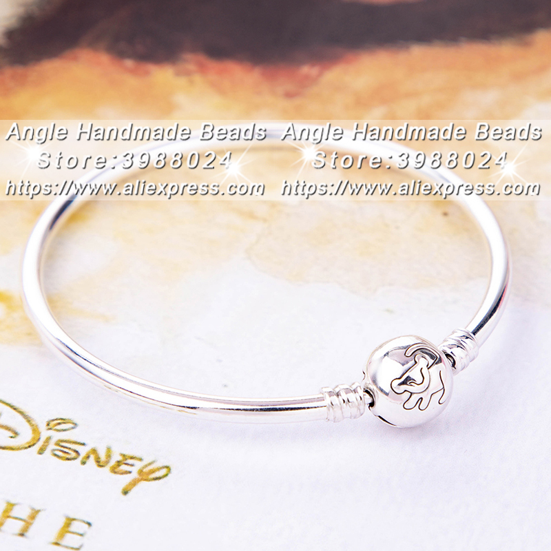 2019 Summer Release 925 Sterling Silver Disn ey The Lion King Bangle Bracelet Fit DIY Jewelry European Charm Beads