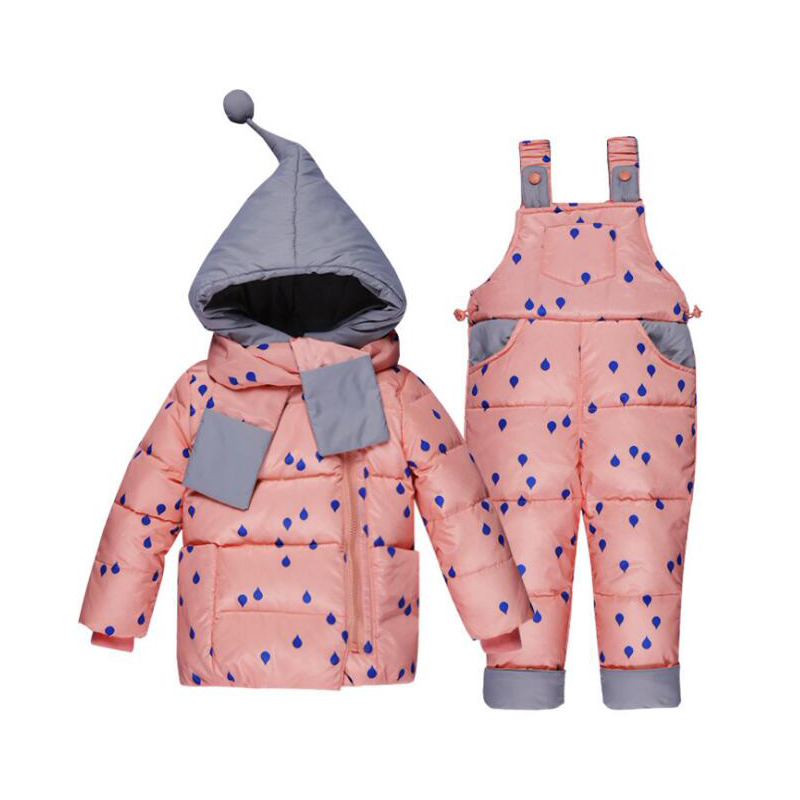 Bibicola 2018 winter childrens clothing set kids ski suit overalls baby girls down coat warm snowsuits jackets+bib pants 2pcs
