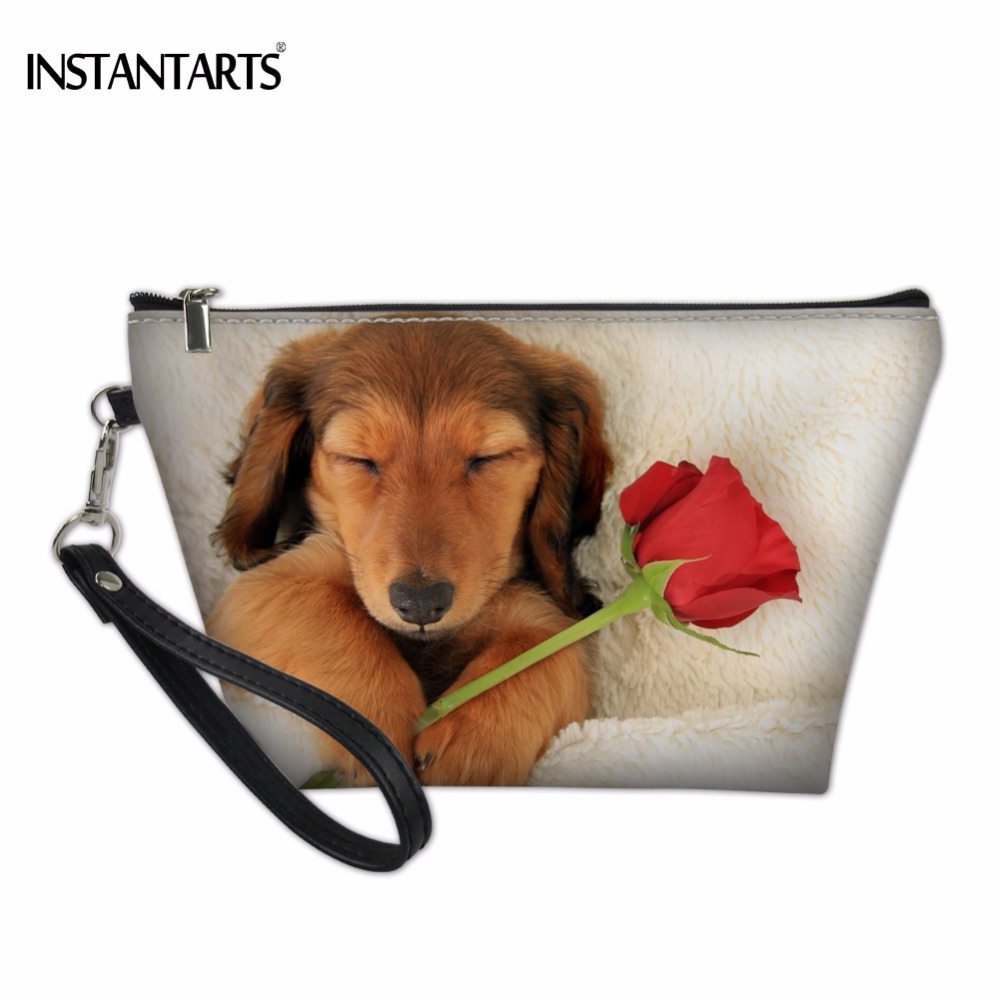 INSTANTARTS Kawaii 3D Animal Dachshund Dog/Puppy Print Woman's Cosmetic Cases Causal Large Lady Makeup Bags Storage Make Up Case