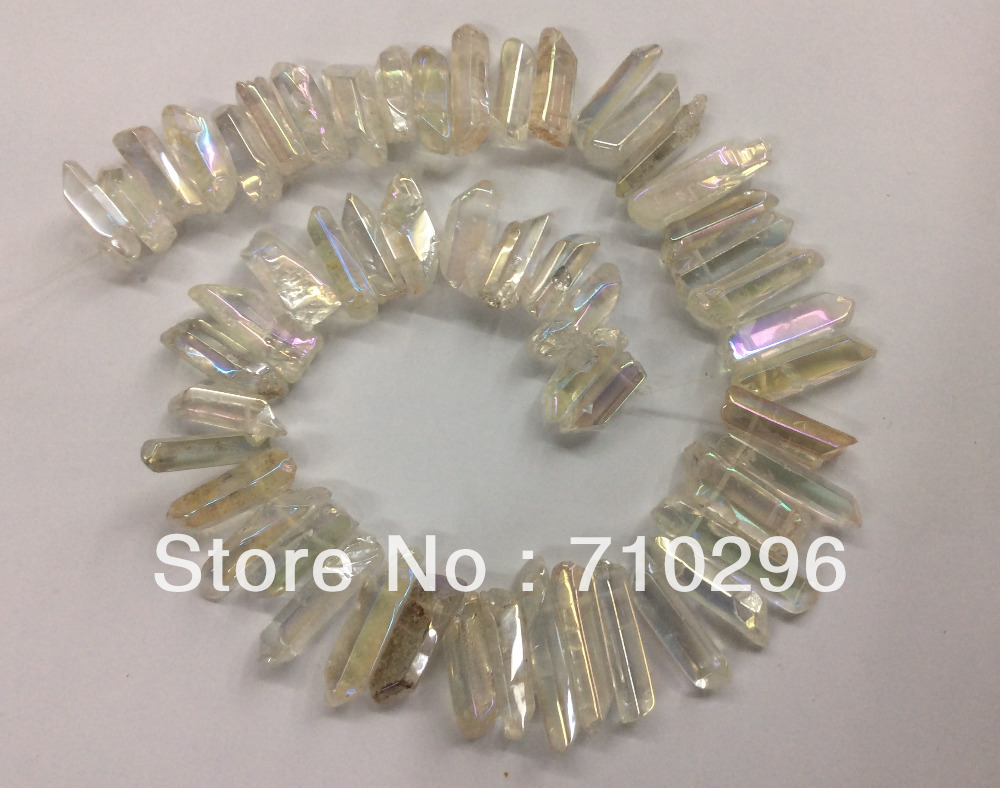 Beads Wholesale3strings/lot Clear Quartz Plated Rainbow Quartz Point Beads For Jewelry 15.5inch Length Beads & Jewelry Making