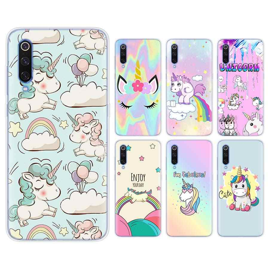 Unicorn On Rainbow Silicone case for Xiaomi Mi 9 8 A2 Lite Play Mix3 Redmi 6 6A Note 6Pro 7 Pro TPU Soft Phone case