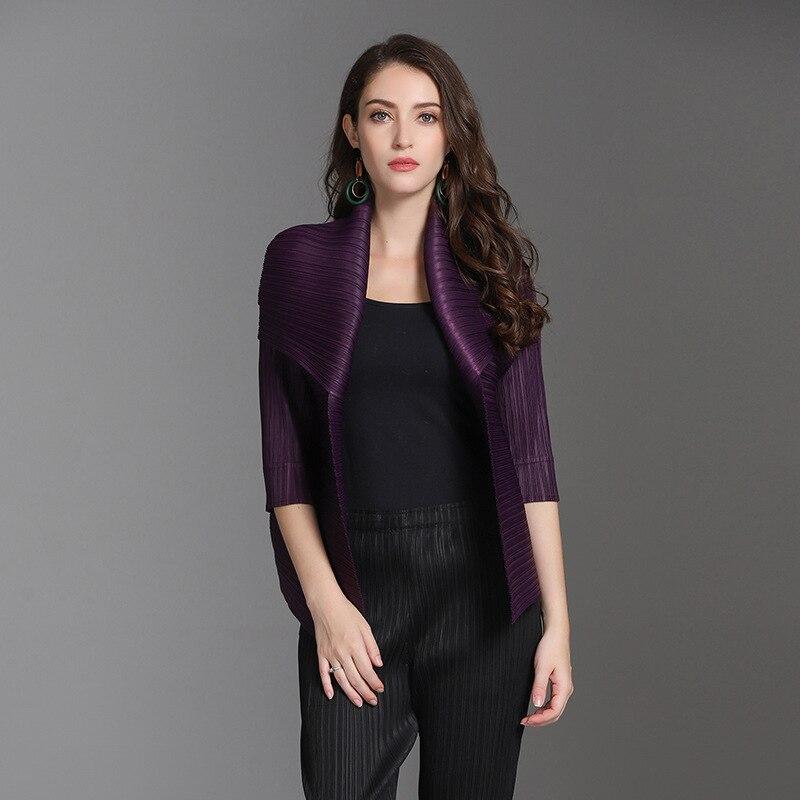 Tops Veste Solide De Mode Dame Couleur Black purple red Manteau Plissée Marée Automne blue Nouveau Femmes Wp4xPpqz