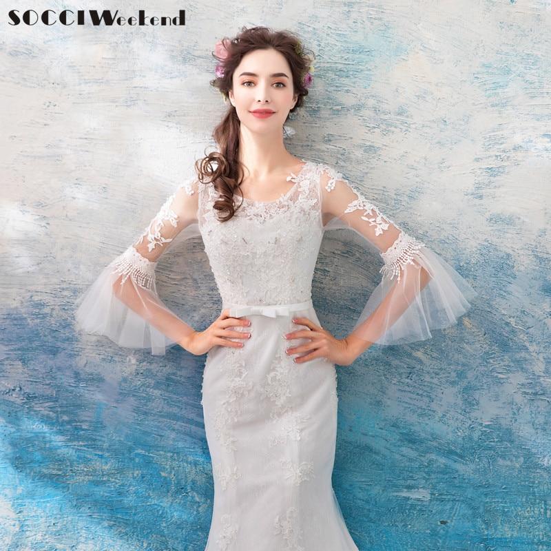 SOCCI Weekend Snow White Wedding Dress 2018 Elegant Ivory Mermaid Marriage Dresses Half Flare Sleeves China Cheap Wedding Gowns