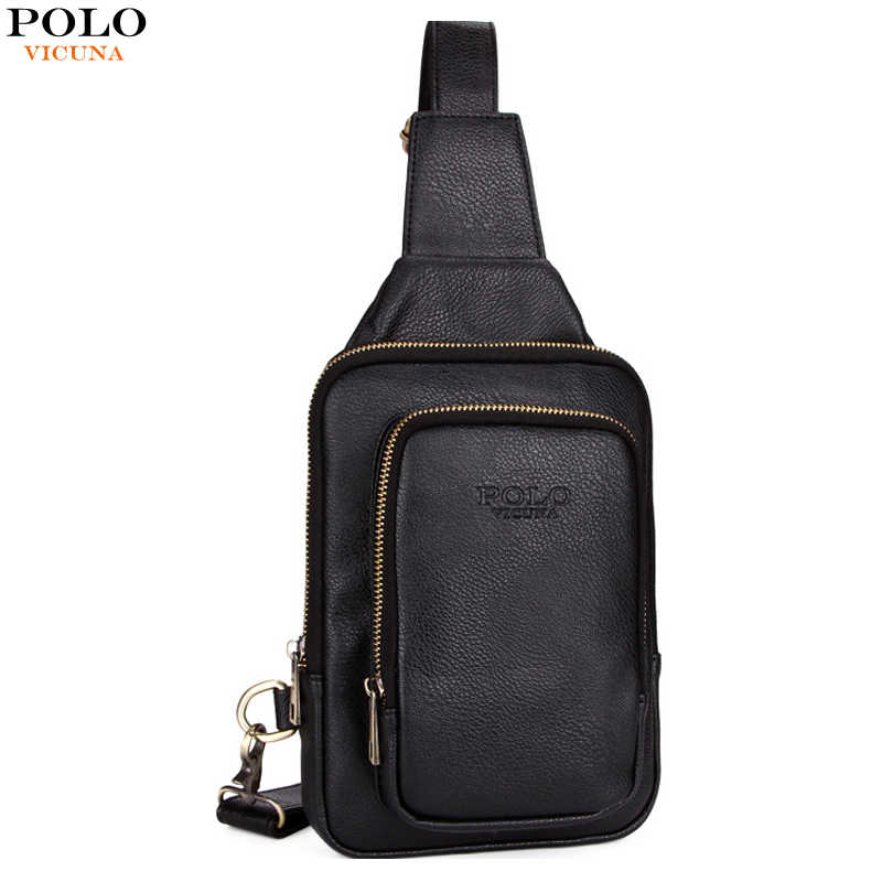 VICUNA POLO High Quality Leather Men Chest Bag Famous Casual Mens Sling  Shoulder Bag Small Solid 24d4287b5ae76