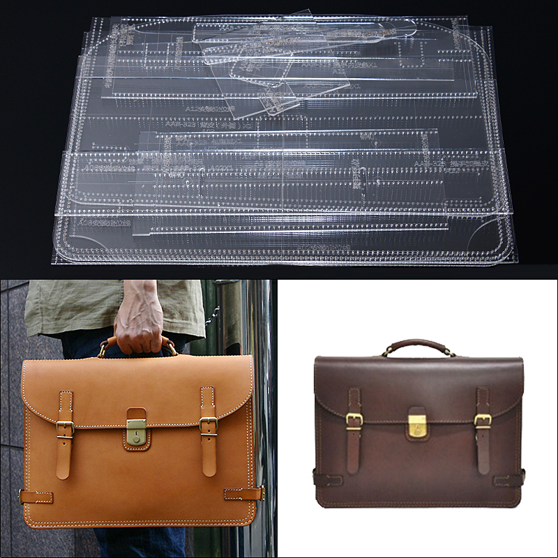 1Set Acrylic Template for Shoulder Bag Briefcase Leather Craft Pattern Simple Style Bag Stencil Template Tool DIY Set