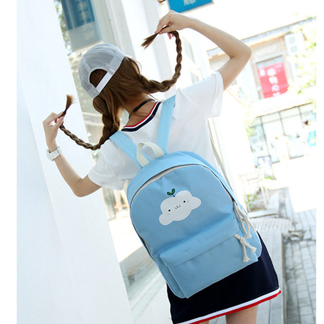 Canvas shoulder backpack small fresh cartoon Japanese Korean version cute high  school girl middle school student 020cb18a44871