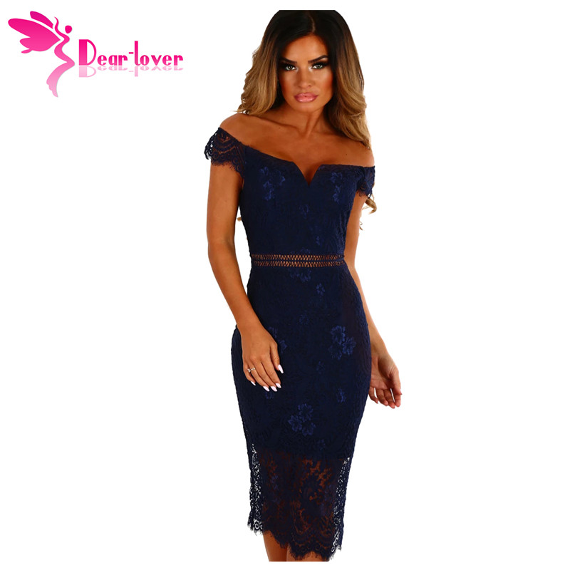 Dear Lover off shoulder dresses Sexy Party Elegant Summer Women Navy Lace Bardot Midi Dress Vestido de Renda Robe Femme LC61975