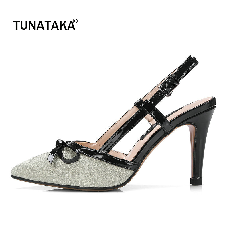 Bling Patent Leather Thin High Heel Summer Woman Sandals Fashion Bow Knot Dress High Heel Shoes Woman Gold Silver bling patent leather oxfords 2017 wedges gold silver platform shoes woman casual creepers pink high heels high quality hds59