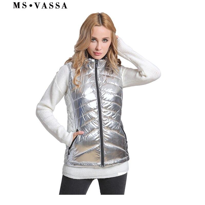 MS VASSA для женщин жилет Новинка 2018 года демисезонный Дамы Мягкий повседневное куртка без рукавов флис воротник плюс размеры 5XL 6XL