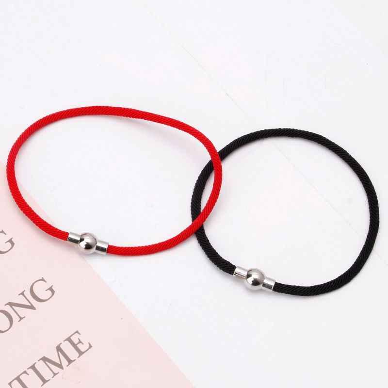 Masz szczęście, kabała czerwony czarny sznurek pleciony bransoletki z magnetyczne zapięcie jubilerskie