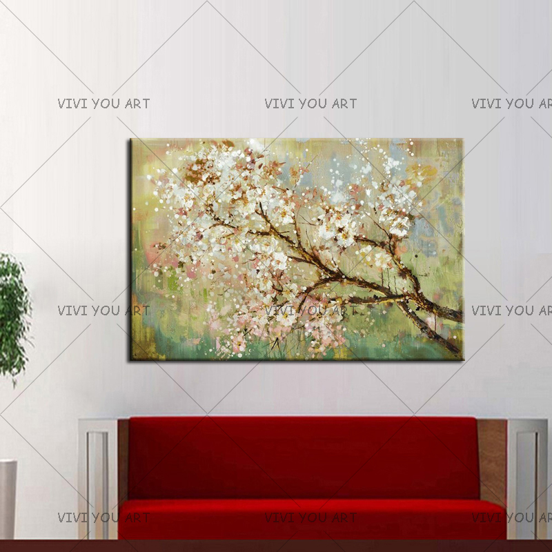 US $19 38 49% OFF Hand painted Modern Home Decor Wall Art Picture Plum  Blossom White Flower Tree Oil Painting On Canvas For Living Room No  Framed-in
