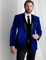 Custom Made Groomsmen Shawl Black Lapel Groom Tuxedos Blue Velvet Men Suits Wedding Best Man Blazer (Jacket+Pants+Tie+Vest)