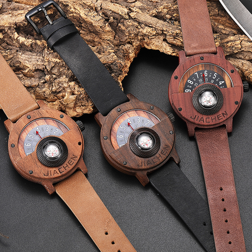 Creative Men Wood Watch Mens Wooden Wrist Watches Creative Real Solid Natural Walnut Rosewood Male Turntable Compass Wristwatch(China)