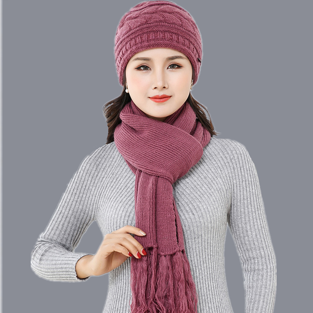 mom Double-deck Knitted Wool Natural rabbit Fur Pompon scarf Hat Set Female Winter Braid Cap Headgear For Women Skullies Beanies