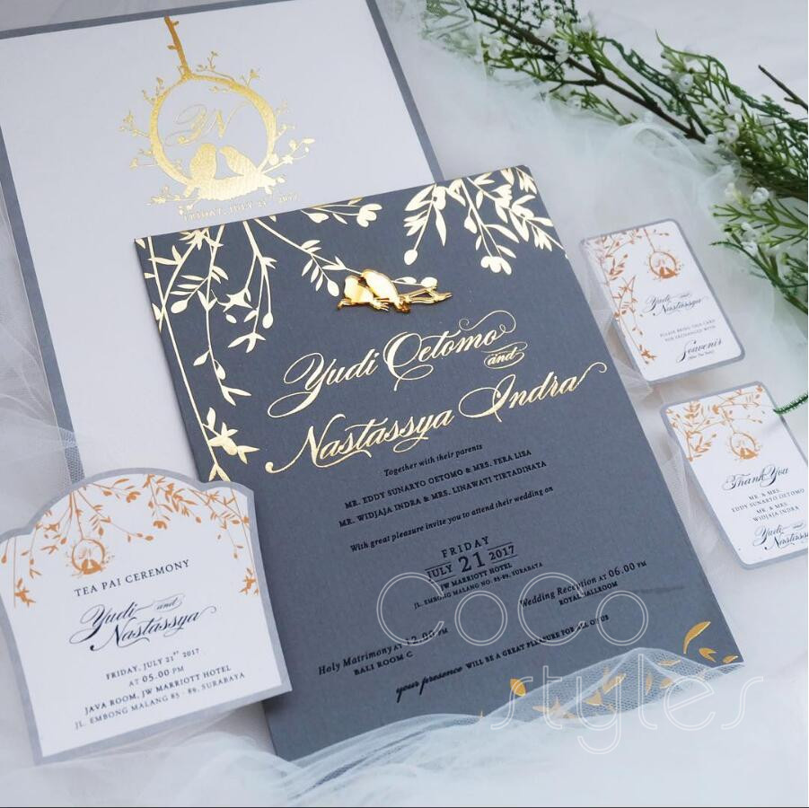 Cocostyles Custom Vintage Gold Foiling Gray Invitation Card