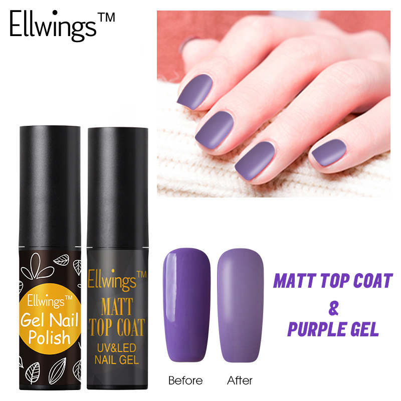 Black Gel Nail Polish: Ellwings 2pcs Transparent Matte Gel Nail Polish Purple