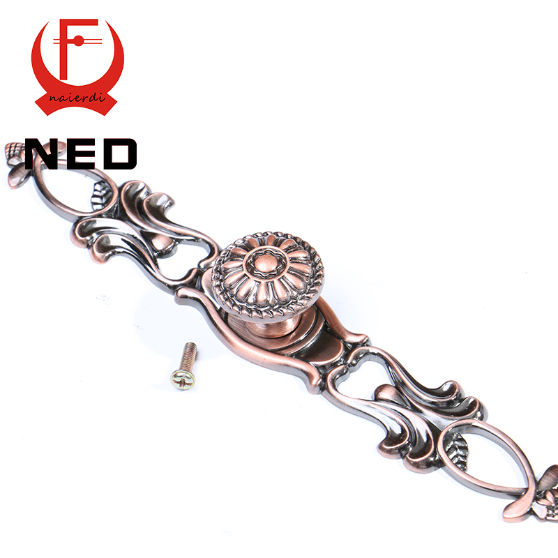 NED 155MM Retro Red Bronze Kitchen Handles Door Cupboard Zinc Alloy Cabinet Knobs European Wardrobe Furniture Handle Drawer Pull