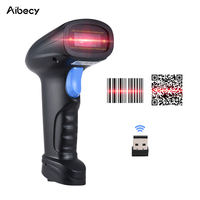 Aibecy Handheld 2.4G Wireless 1D/2D/QR Barcode Scanner Bar Code Reader with USB Receiver 2100 Code Storage Capacity for POS shop