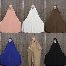 Women Prayer Garment Black Islamic Clothing Muslim Abaya Long Hijab With Robes Attire Bat Gown