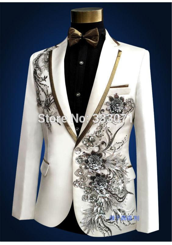 Costumes 2016 De Marié Partie Hommes Qualité Applique Blazer Veste Performance Gentleman Smokings Rétro Bal Ivory Haute Mariage Vêtements Pantalon xqHwYXgrOq