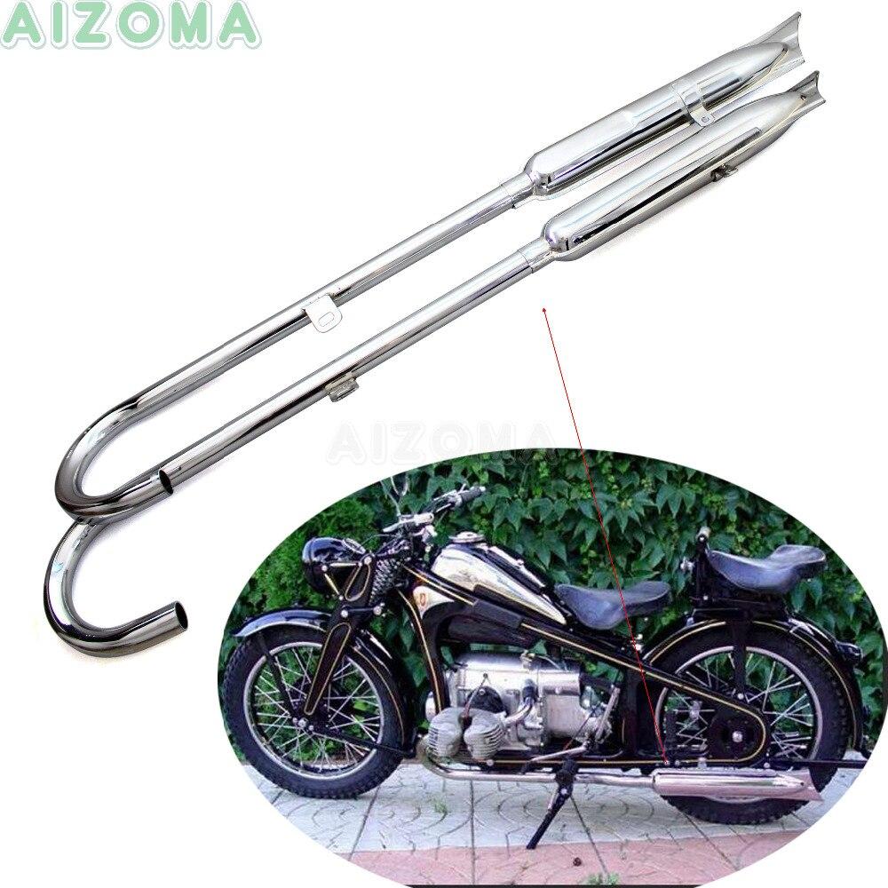 2x Motorctycle 750cc avant et arrière queue de poisson pot d'échappement Sidecar Ural 32HP rétro silencieux tuyaux pour BMW K750 M1 M72 R71 R12