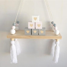 NEW Nordic Style Wooden Storage Racks Kids Room Decorative Wall Shelves With Beads Tassel For Baby Clothes Toys Organizer Shelf(China)