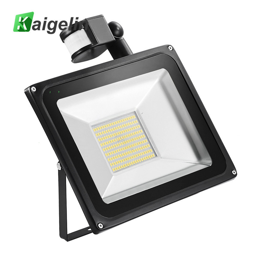 Kaigelin Sensor LED Flood Light 100W 220V SMD 5730 Infrarød Sensor Floodlights Udendørs Belysning Induktion Flood LED Lampe