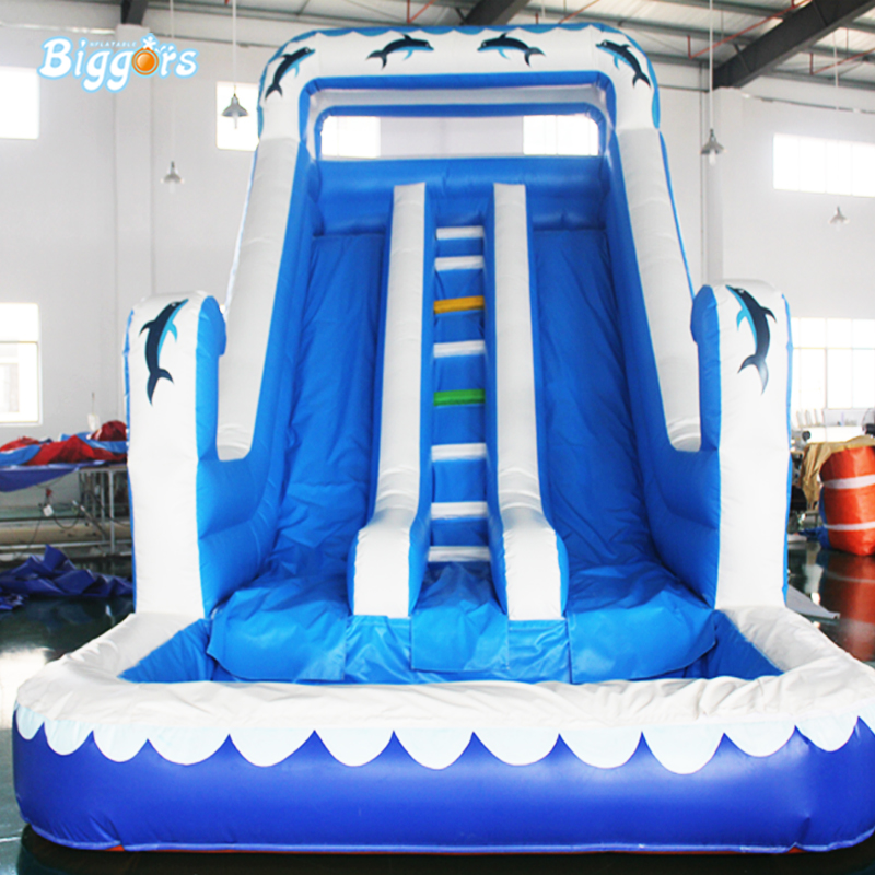 Funny Blue Color Inflatable Slide Ocean Wave Water Slide For Children and Adults Game