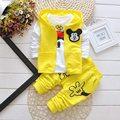 New Mickey meninos e meninas da roupa Do Bebê Set esporte Suit 3 Pcs vest + T-Shirt + Calças Do Bebê verão Outono Sets 0-3yrs Meninos roupas