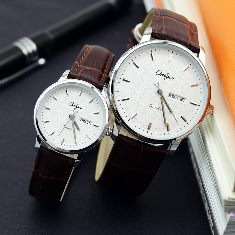 Onlyou Brand Lovers Watch Women Men Quartz Genuine Leather Wrist Watches Fashion Business Female Male Clock With Calendar 81092 classic ulzzang brand vintage genuine leather women men lovers quartz wrist watch gift black white brown