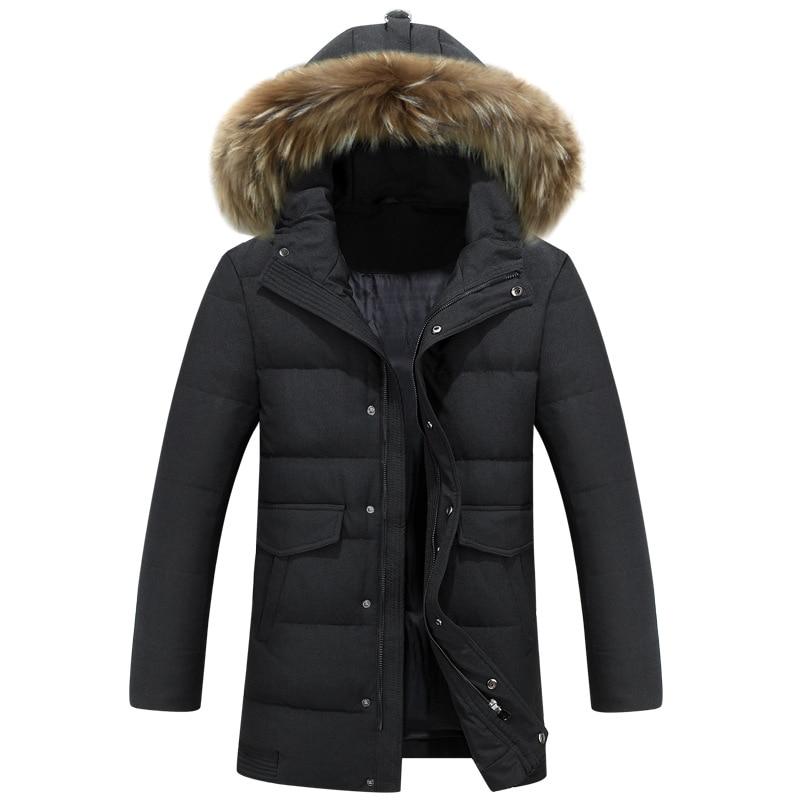 2016 Winter Neue Langen Dicken Warm Homme Veste Canard Hiver Lange Pelzkragen Parka Longue Homme