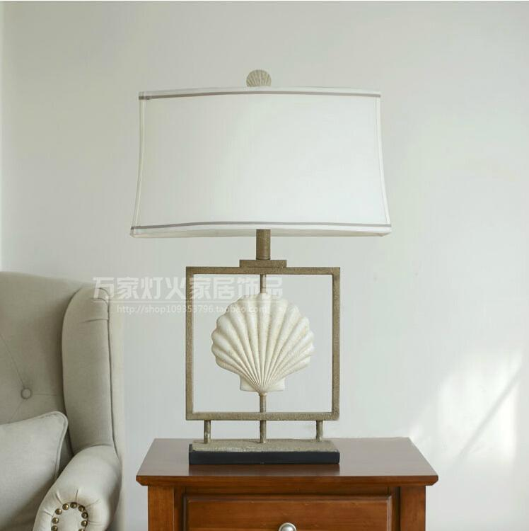 American simple white shell resin table lamp bedroom bedside garden retro light LO7103 ZL239 LO9