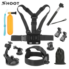 цена на SHOOT for GoPro Hero 7 6 5 4 Black Universal Riding Accessory for Xiaomi Yi 4K SJCAM SJ7 Eken H9 Sony Mount for Go Pro Kits Set