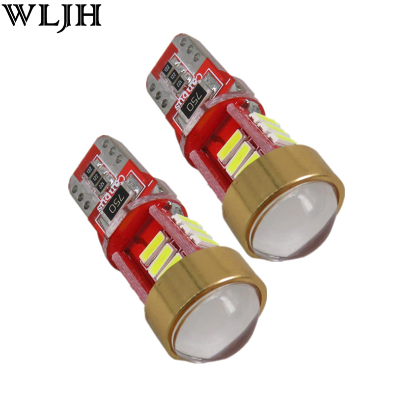 WLJH 2x Canbus T10 LED W5W Car LED Projector Lens Auto Lamp for mitsubishi asx Evo V3 Lioncel Galant outlander lancer accessory 2 x t10 led w5w canbus car side parking light bulbs with projector lens for mercedes benz c250 c300 e350 e550 ml550 r320 r350
