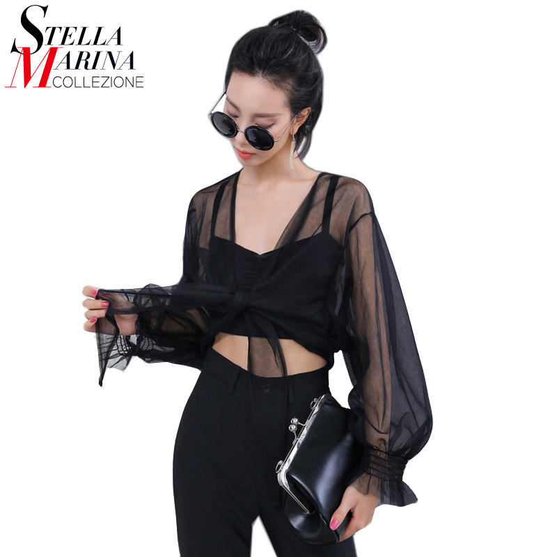 Gaya Eropah 2017 Wanita Summer Sexy Sheer Mesh Tops Long Sleeve Black Green T Shirt Transparan Cape Gaya Pendek T-shirt 1616