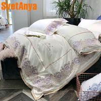 Svetanya шлифования хлопок вышитые постельное белье queen King Размеры белый цвет постельное