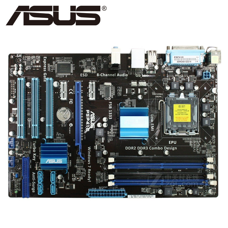 Asus P5P41C Desktop Motherboard P41 Socket LGA 775 Q8200 Q8300 DDR2/3 16G ATX UEFI BIOS Original Used Mainboard On Sale original used desktop motherboard for asus p5ql pro p43 support lga7756 ddr2 support 16g 6 sata ii usb2 0 atx