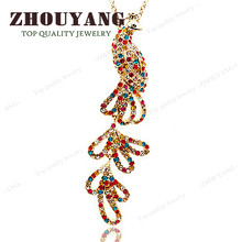 ZHOUYANG ZYN089 Phoenix Necklace Rose Gold Color Fashion Jewellery Nickel Free Pendant Crystal(China)