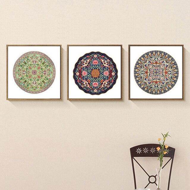 HAOCHU Triptychon Böhmen Indischen Stil Erde Ton Floral Totem Kreis ...