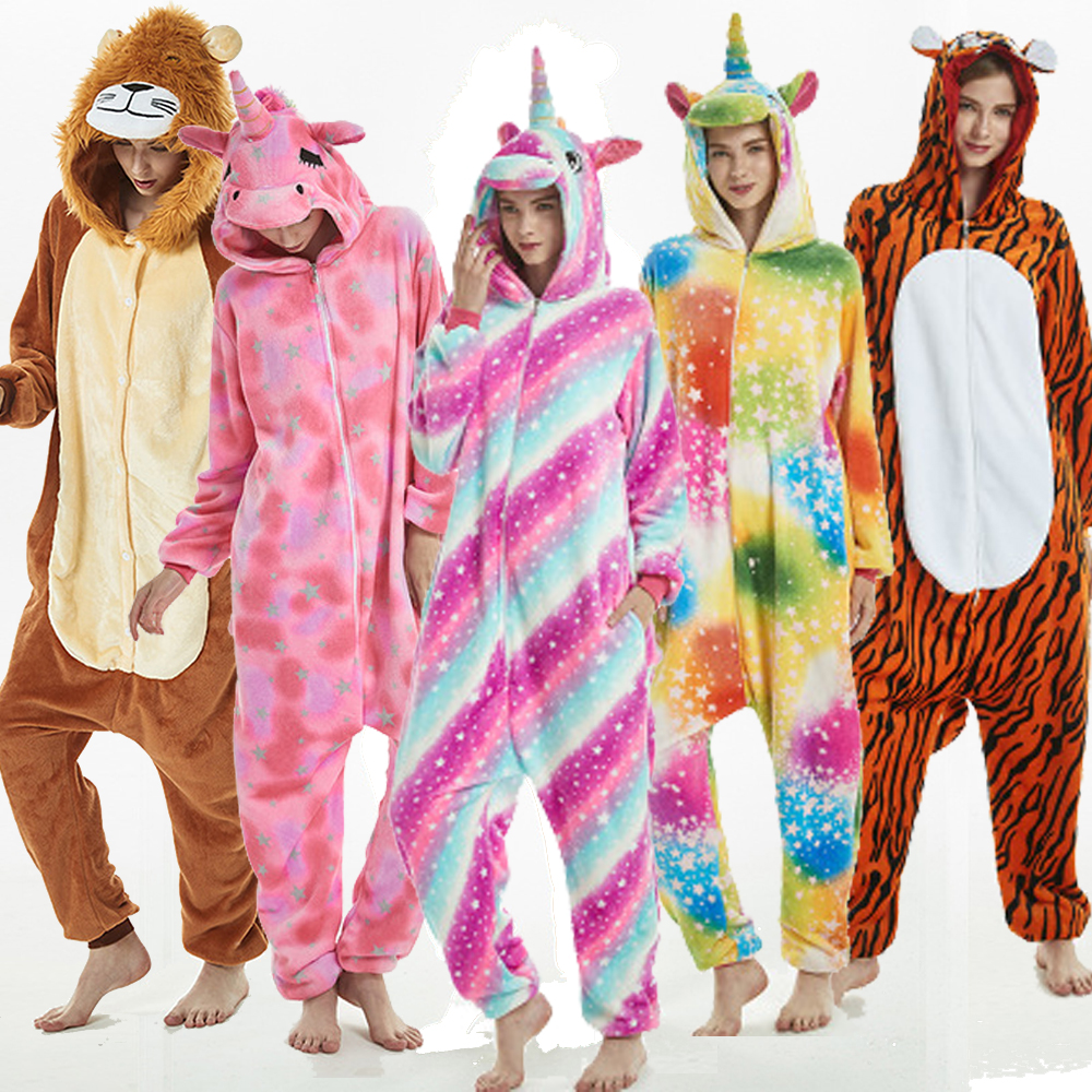 Kigurumi Unicorn Pajamas 2019 Winter Adult Stitch Lion Tiger Onesies Sleepwear Unicorn Sets Women Men Unisex Flannel Overalls
