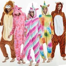 Kigurumi Unicorn Pajamas 2019 Winter Adult Stitch Lion Tiger Onesies Sleepwear Sets Women Men Unisex Flannel Overalls