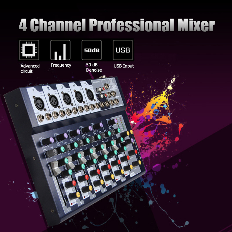 KINCO Professional 4 Channels Audio Mixer with USB 48V Phantom Power DJ Sound Mixing Console Live Mixer For Karaoke Match Party leory professional karaoke 4 channels dj mixer sound mixing console with usb mp3 audio mixer for ktv sound system