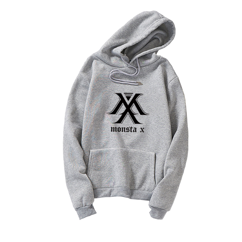 MONSTA X Mulheres Hoodies Camisolas Kpop Coreano Fãs Roupas Streetwear Casual Harajuku Superdimensionada Fleece Unisex Pullovers Moletom