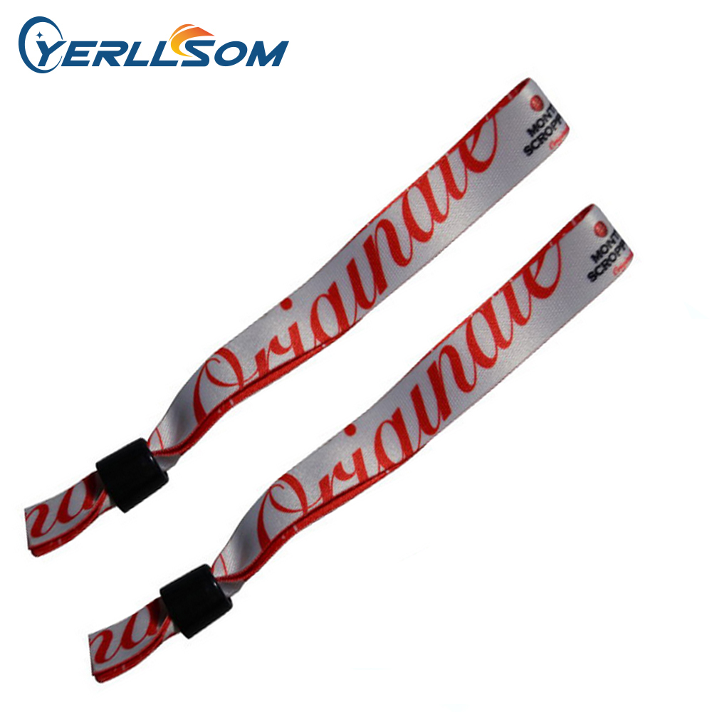 YERLLSOM 200 unids/lote personalizada de alta calidad de tela pulseras con logotipo tejido para eventos F042401-in Pulseras de amuleto from Joyería y accesorios    1