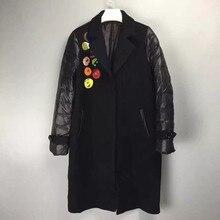 Персонализированные Шаблон Аппликация Лоскутное Вниз Длинная Куница Бархат Пальто Верхней Одежды Женщин