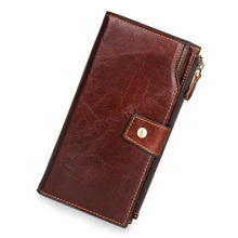 Vintage Genuine Cowhide Oil Wax Leather Man Women Long Wallets Purse Brand Wallet Male Female Card Holder Phone Clutch Wallets