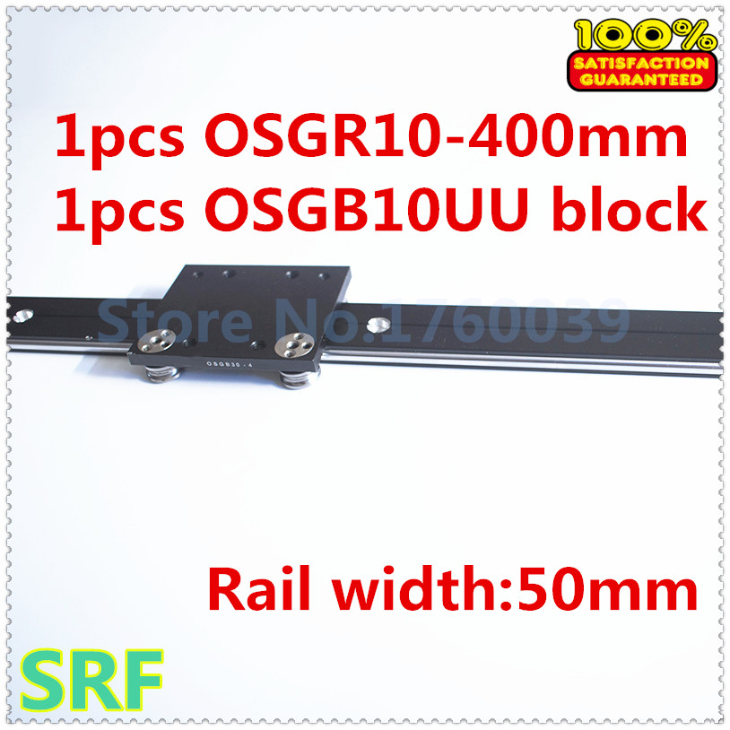 50mm width  Aluminum roller linear guide rail external dual axis linear guide 1pcs OSGR10 L=400mm+1pcs OSGB10 block 7mbr25sa120 50 1pcs