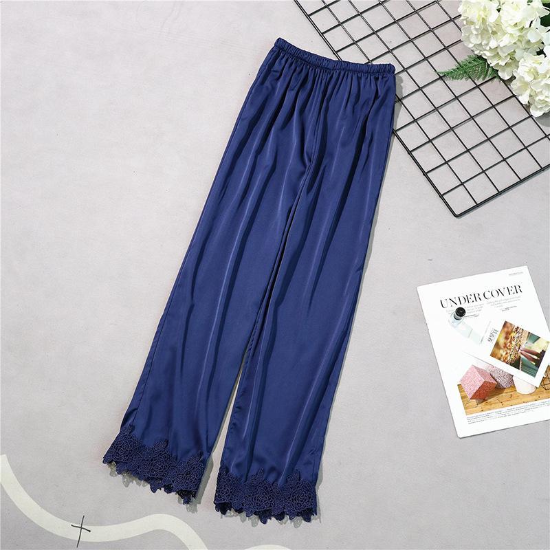 Бургундия стиль женские длинные брюки весна лето повседневная шелковистая Домашняя одежда сна Пижама банные брюки M-XL - Цвет: Navy Blue