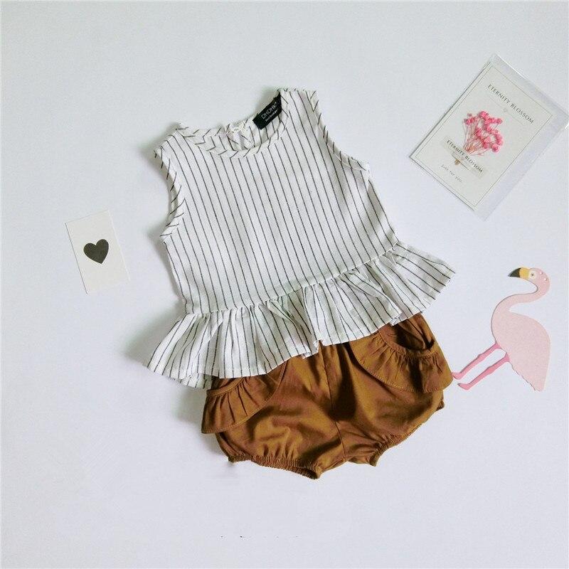 цена Summer Girls Set Vetement Garcon Cotton Linen Ruffles Striped Sleeveless Vest + Shorts Boutique Toddler Baby Girls Clothes Set онлайн в 2017 году