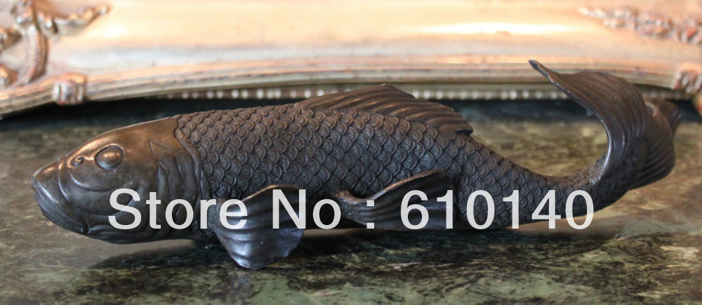 Brocaded Carp Koi Fish Pond Japanese Water Garden Art Bronze Statue Sculpture